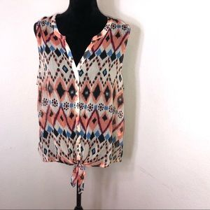 Large boho lucky brand button tie front tank